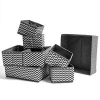 1 세트 웨이브 패턴 비 짠 속옷 보관 상자 접이식 서랍 양말 주최자 의류 저장소 홈 장식 C0116