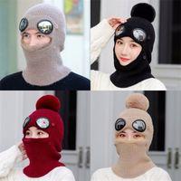 أفخم قطعة واحدة قبعة سماكة الدافئة الحياكة الأذن حماية الدراجات الصوف القبعات النساء الرجال الشتاء الرقبة غطاء أقنعة متعددة الاستخدامات 19 5LQ M2