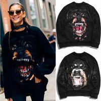 Kadınlar Tasarım Rottweiler Kazak Polar Pamuk Kalın Sıcak 2019 F / W Giymek Jogger Rahat Hoodie Lady