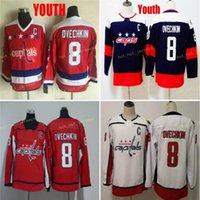 청소년 워싱턴 8 Alex Ovechkin 하키 유니폼 키즈 소년은 Alex Ovechkin Jersey Shirts를 스티치했습니다.