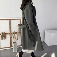 Miscele di lana da donna BHDD Womens Plus Size Fashions Cappotto lungo inverno Cappotto di inverno Top e camicette Spessa scopata a doppia faccia shein1