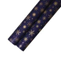 Подарочная упаковка упаковочная бумага металлик цвета темно-синяя печать золотые бумаги 73 * 51 см Рождественская елка снежинка декоративный узор горячий Sale0 66WK N2