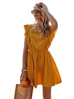 Sommer Frauen Backless Kleid Elegante Rüschen Casual A-Line Midi Kleid Vintage Spitzestich Für Femme Partykleider CS8043