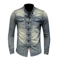 Erkek Ceket Gömlek Uzun Kollu Denim Gömlek Yumuşak ve Rahat Mavi Erkek Uzun Kollu İnce Ceket