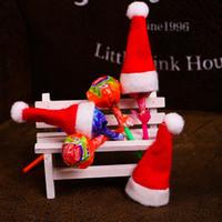 Bonito Natal Pequeno Lollipop Chapéu Mini Lindo Vermelho Vermelho Santa Hat Crianças Decorações De Presente De Natal Decorações Fontes De Partido VT1939