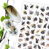 1 ADET Yaz Glitter Tırnak Çıkartmaları Çıkartmalar Altın Siyah Beyaz Yaprak Manikür Folyolar Geometrik Slider Nail Art Yapıştırıcı Dekor