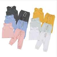 Bebê Designers Roupa Define Boy Meninas mangas Calças Ternos infantil sólido candy Outfits Moda Casual Calças Vest longas 2pcs LSK1744