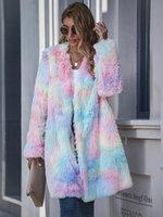 Mulheres de Inverno do arco-íris da tintura do laço Teddy casacos e jaquetas Streetwear Faux Fur Polar Plush Oversized