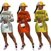 2021 봄 가을 여성 지폐 인쇄 낮은 뒤로 드레스 디자이너 패션 캐주얼 홀터 둥근 목 섹시 슬림 긴 소매 미니 드레스 HH12004