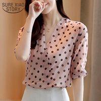 Summer Camicie da donna ufficio signora manica corta pullover ladies camicette nuovo stile coreano con scollo a V Collo a polka dot camicetta donna 9025 50
