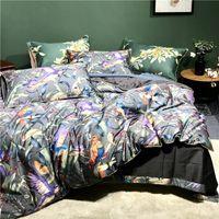 600TC egípcio algodão flor de bird digital conjuntos de roupa de cama 4 pcs cama cama de roupa de cama capa de luxo lençóis pillowcases #s 201210