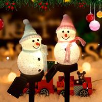 Jardim ao ar livre decoração paisagem luz solar natal série desenhos animados boneco de neve plataforma lâmpada de lâmpada criativa levou gramado luz