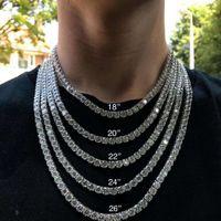 Хип-хоп Bling ювелирные изделия Мужские ожерелье серебряные золотые алмазные ожерелья 3 мм 4 мм 5 мм со льдом из теннисной цепи