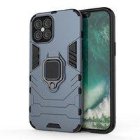 Для iPhone 12 Case 12 Mini Pro Max случая телефона крышки Маунт автомобиля Magnetic Attraction металлический держатель палец кольцо TPU ПК мобильный телефон крышки корпуса