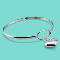Braccialetto classico en argento pour femme 925 braccialetto braccialetto coeur en argente braccialetto massiccio uouvert fille bijoux alette cadeau pulseira t200422