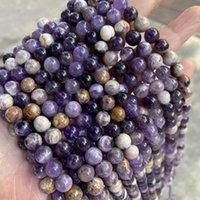 Hundezahn Amethyst Natürliche blumige amethyst 6/8 / 10mm stein lose glatte runde perlen lila diy schmuck machen armband 15 ''