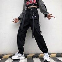 CADA Moda Mulheres Streetwear Calça Calça Coreana Largura Elástica Cintura Elástica Harem Pant Feminino Casual Basculador Solto Calça Com Cinto LJ201130