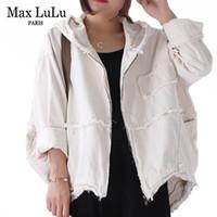 Max lulu 2019 moda coreano punk streetwear senhoras roupas com capuz mulheres jaquetas outono vintage casacos de denim grandes mais tamanho