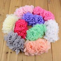 """Por Atacado 100 pcs / lote 3 """"Chiffon Rose Flowers Handmade Rolados Rosetas Flower Flower DIY Casamento Appliques Acessórios de Cabelo Th203 LJ201226"""