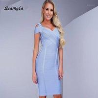 Party платья оптом- Seamyla оптовая продажа летнее платье v шеи вечер сексуальные без рукавов женщин bodycon bandage платья1
