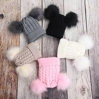 Çift top örme çocuklar şapka çocuk şapka Renkli top sıcak örme şapka açık ılık kış kap CYF4544