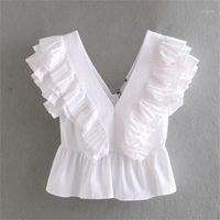 2020 весенний женский новый белый суд ветер без рукавов V-образным вырезом топ маленький плиссированный ламинированный промежуточный поплин рубашка1