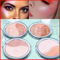 CmaaDu estetiche faccia trucco Colore unico Highlighter di luccichio Cipria Sorriso Bronzers Evidenziatori 4 stili