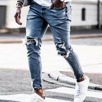 Yeni Skinny Jeans Erkek Streetwear Jeans Homme Hip Hop Broken MODIS erkek Kalem Biker Nakış Yama Pantolon Ripped tahrip