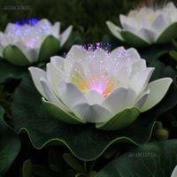 Yapay Su Geçirmez LED Optik Fiber Işık Yüzer Beyaz Lotus Çiçekler Lily Düğün Parti Gece Lambası Dekorasyon D551