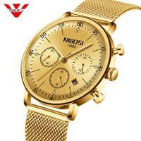 Relojes para hombre de cristal de arco de Nibosi Top Marca de lujo Reloj de cuarzo Hombres Casual Slim Malla de acero Impermeable Reloj Deportivo Relogio Masculino