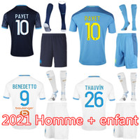 Homem Kitch Kit 20 21 Olympique Om Marseille Jerseys 2020 Marselha Maillot de Foot Thauvin Camisetas Payet Benedetto Camisa de Futebol