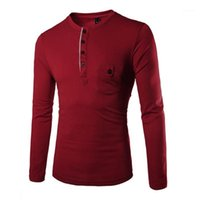 Casual Tee Clothing Designer Male Long Sleeve Buttons Slim Tops Tshirts Man Solid Color T-shirts Fashion Trend Round Neck