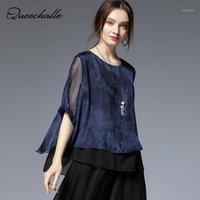 Женские блузки рубашки Кузаль 2021 летняя шифоновая блузка женская черная синяя ретро печать свободно A-Line женский плюс размер рубашки повседневная топ1