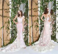 2021 Erröten Rosa Meerjungfrau Brautkleider Elegante Federn 3d Blumen Spitze Brautkleider V-Ausschnitt Backless Cap Sleeves Roben de Mariée AL7432