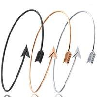 Oppohere fascino freccia braccialetti per le donne ragazza semplice stile moda in lega aperta oro argento braccialetti polseira una direzione involucro1