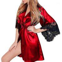 섹시한 레이스 새틴 잠옷 여성 숙녀 야외 복장 란제리 Nighties V-Nightdress 레이스 최대 느슨한 나이트 게운 플러스 사이즈 Robe1