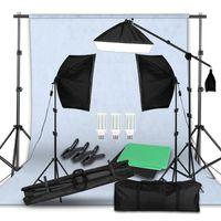 Freeshipping Photo Studio LED Softbox Kit de iluminación Brazo Brazo Fondo Soporte de soporte 3 Color verde Teleo de video para fotografía
