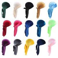 12 Stil Lüks Unisex Kadife Durags Katı Renk Bandana Türban Şapka Korsan Kapaklar Peruk Doo Durag Biker Şapkalar Korsan Şapkalar