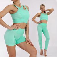 원활한 여성 요가 세트 2 / 3 / 4pcs 운동복 셔츠 스포츠 브래지어 높은 허리 레깅스 체육관 요가 옷 스포츠 정장