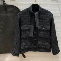 Grand Tasarımcı Lüks Tweed Ceket Kadınlar Için Yüksek Kaliteli Dantel Yukarı Balıkçı Yaka Uzun Kollu Tek Göğüslü Moda Ceket 2021