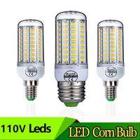 E27 110V SMD 5730 E14 LED 라이트 24 36 48 56 72 LED 옥수수 전구 샹들리에 가정용 조명