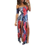 Женщины Длинные платья Летние каникулы Vestidos моды Sexy с плеча Цветочные Разделить Середина талии бинты Slim Fit платье партии
