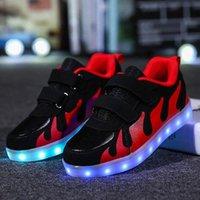 Strongshen Red 2018 rose enfants chaussures lumière LED lumineuses chaussures garçons filles sport sport décontracté LED enfants rougeoyant baskets # p24l