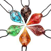 Anhänger Halsketten Yingwu Großhandel 6 stücke Damen Lampwork Murano Glas Wassertropfen Blatt Spirale Goldfolie Halskette Charm1