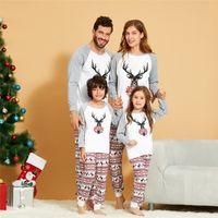새로운 크리스마스 부모 - 자식 의상 파자마 긴 소매 편지는 풀오버 격자 무늬 바지 아기 뛰어 돌아 다니는 가족 의상을 일치 인쇄