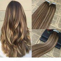 확장에서 100 % 인간의 머리카락 테이프 Remy Hair Extensions에 강조된 테이프 omber 브라질 헤어 익스텐션 100g 40pcs