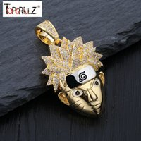 TopGrillz Naruto Uzumaki Pingente Colar Mens Colar C Gelado Corrida Cz Chains Hip Hop / Punk Gold Color Charms Jóias Presentes J1218
