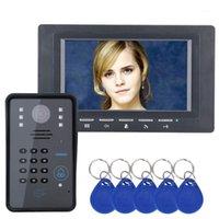 Video-Tür-Telefone Kabelgebundenes Telefon 7-Zoll-Farbe TFT LCD-Smart-Intercom-Türklingel mit IR-Nachtsicht-Kamera-Unterstützung ID-Karte freischalten1