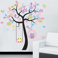 Diy coruja árvore de pássaro adesivo de parede casa sala para crianças sala de estar decalques crianças bebê berçário decorativo wallpapers adesivos 201130