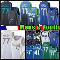 Dallas Mavericks Men's Luka Youth Kid's 77 Doncic Basketball Jersey Kristaps 6 Porzingis Dirk 41 Nowitzki 2021 New White Blue Jerseys